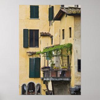 Italien Tuscany, Florence. Balkong och Poster