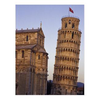Italien Tuscany, Pisa benägenhettorn av Pisa och Vykort