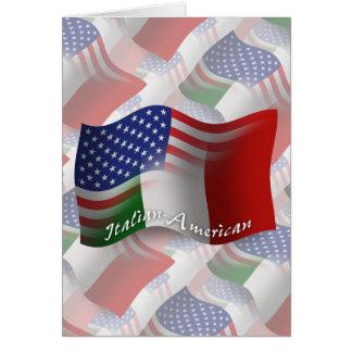 Italienare-Amerikan som vinkar flagga Hälsningskort