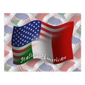 Italienare-Amerikan som vinkar flagga Vykort