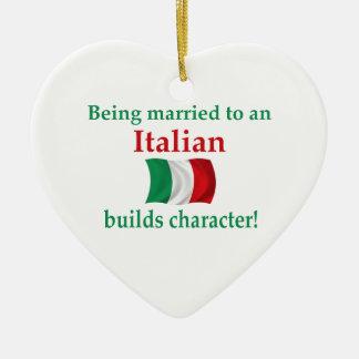 Italienare bygger teckenet julgransprydnad keramik