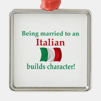 Italienare bygger teckenet julgransprydnad metall
