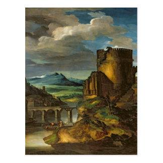 Italienare landskap, eller, landskap med en grav vykort