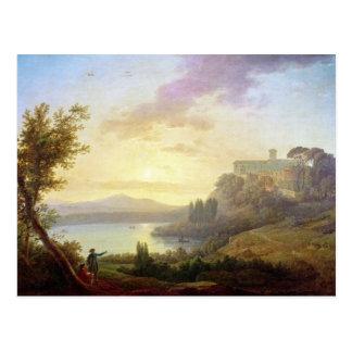 Italienare landskap, inställningssolen vykort