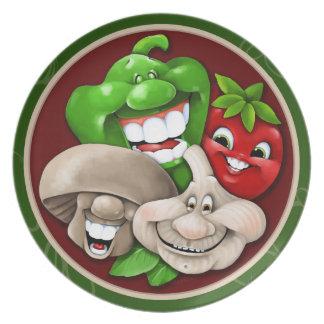 Italienare Party.Mushroom.Pepper.Tomato.Garlic Tallrik