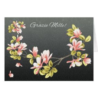 Italienare tackar dig att card med den nätt rosa hälsningskort