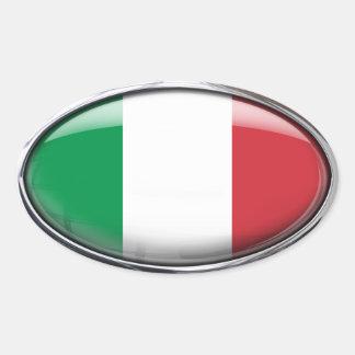 Italienflagga i den Glass ovalen (packen av 4) Ovalt Klistermärke