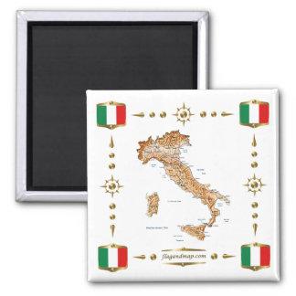 Italienkarta + Flaggormagnet Kylskåpsnagnet