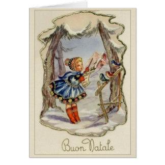 Italiensk Buon Natale för vintage julkort Hälsningskort