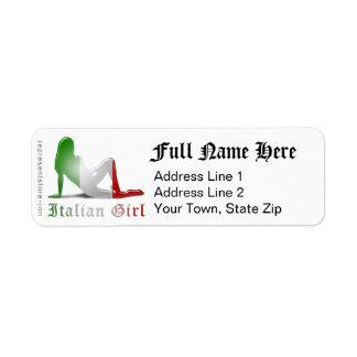 Italiensk flickaSilhouetteflagga Returadress Etikett
