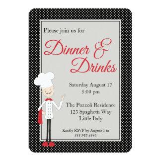 Italiensk inbjudan för kockmiddag- och drinkparty
