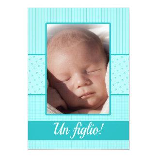 Italienskt pojkefödelsemeddelande 12,7 x 17,8 cm inbjudningskort