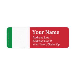 Italienslättflagga Returadress Etikett