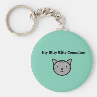 Itty Bitty kattungekommitté Keychain Rund Nyckelring