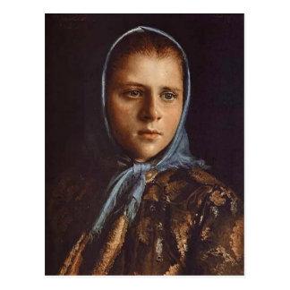 Ivan Kramskoy- rysk flicka i en blåttsjal Vykort