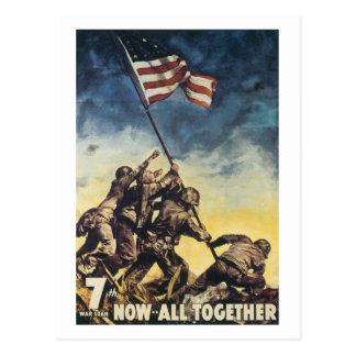 Iwo Jima flagga som lyfter grafisk vintage för Vykort