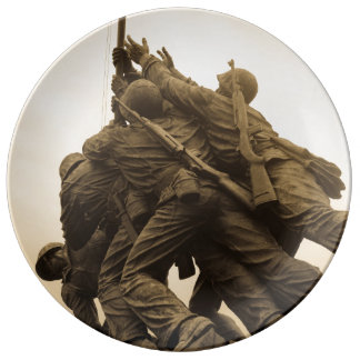 Iwo Jima minnesmärke i Washington DC Porslinstallrik