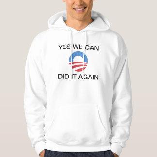 Ja kan vi gjorde det igen den Obama hoodien Sweatshirt Med Luva