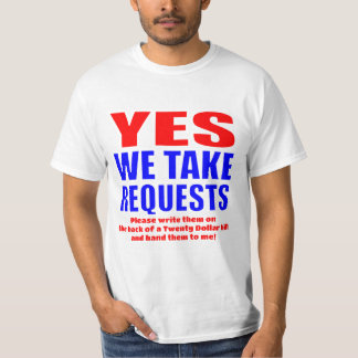 Ja tar vi förfrågan… för $20 tröjor
