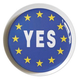 Ja till EG - stag i Europeiska unionen Tallrik