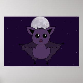 Jac fladdermössflyget vid natt poster