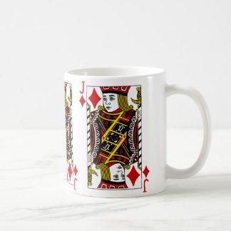 Jack av diamanter som leker kortkaffemuggen kaffemugg