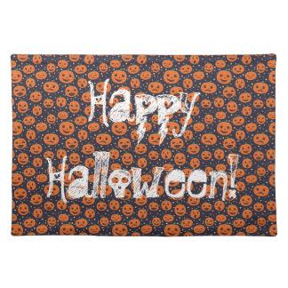 Jack o lantern för happy halloweenpumpamönster bordstablett