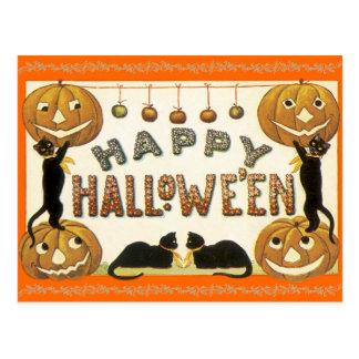Jack o lantern för vintagehappy halloweenvykort vykort