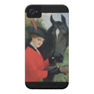 Jacka för ridning för vintagehäst rid- röd Case-Mate iPhone 4 case