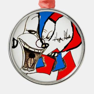 Jackar i boxas (clownen skissar), rund silverfärgad julgransprydnad