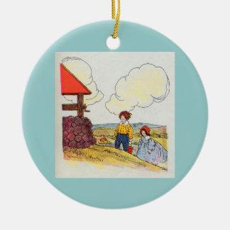 Jacken och Jill gick upp backen Julgransprydnad Keramik