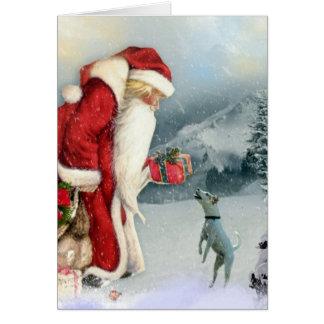 JackRussell Terrier & pappa jul Hälsningskort