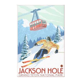 Jackson Hole, Wyoming Skier och spårvagn Canvastryck