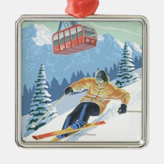 Jackson Hole, Wyoming Skier och spårvagn Julgransprydnad Metall