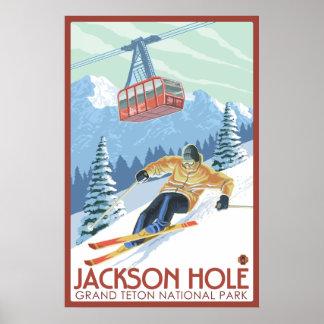 Jackson Hole Wyoming - Skier och spårvagn Poster