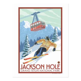 Jackson Hole, Wyoming Skier och spårvagn Vykort