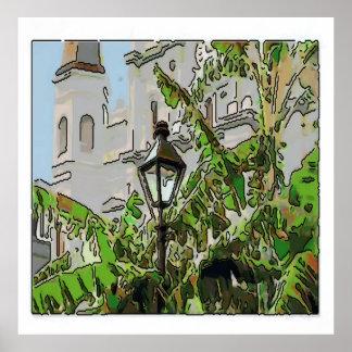 Jackson kvadrerar lamp- och bananträd poster