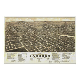 Jackson Michigan 1881 antika panorama- karta Poster