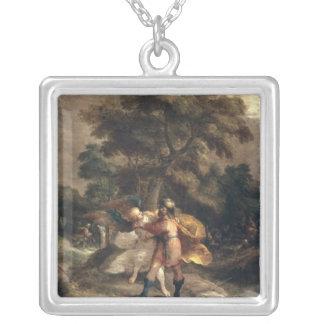 Jacob och ängeln silverpläterat halsband