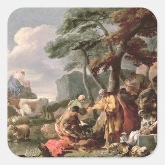 Jacob som begraver de konstiga gudarna under oaken fyrkantigt klistermärke