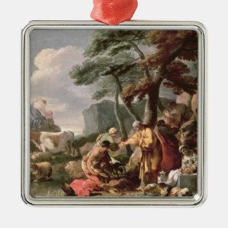 Jacob som begraver de konstiga gudarna under oaken julgransprydnad metall