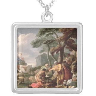 Jacob som begraver de konstiga gudarna under oaken silverpläterat halsband
