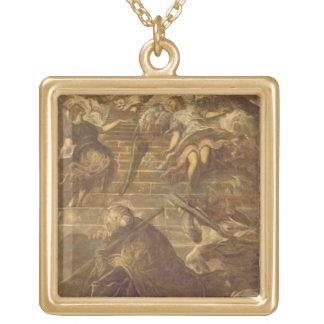 Jacob stege (olja på kanfas) guldpläterat halsband