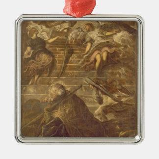 Jacob stege (olja på kanfas) julgransprydnad metall