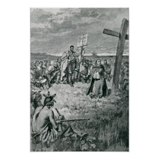 Jacques Cartier inställning - upp en kor på Gaspe Poster