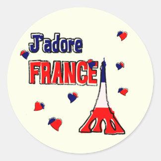 J'Adore frankriken Runt Klistermärke