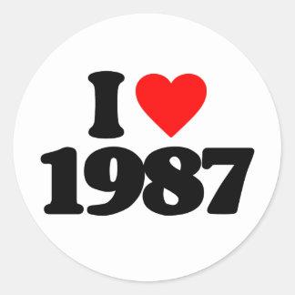 JAG ÄLSKAR 1987 RUNT KLISTERMÄRKE