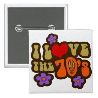 Jag älskar 70-tal klämmer fast! standard kanpp fyrkantig 5.1 cm