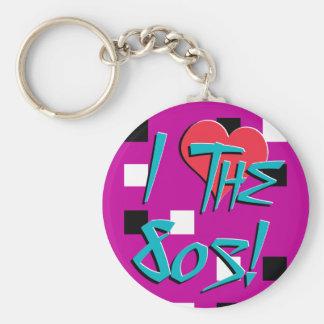 Jag älskar 80-tal Keychain Rund Nyckelring
