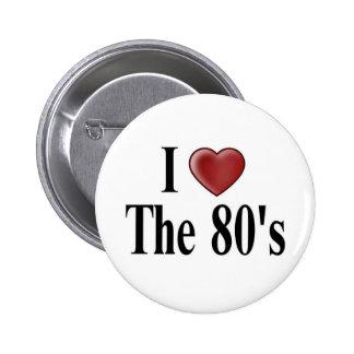 Jag älskar 80-tal knäppas standard knapp rund 5.7 cm